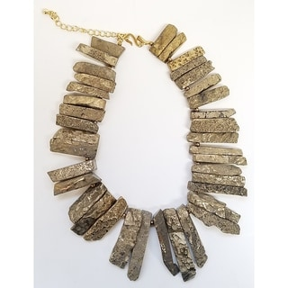 Kenneth Jay Lane Bronze Agate Thin Graduated Stick Gold necklace