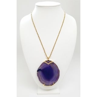 Kenneth Jay Lane Polished Gold Chain with Natural Purple Agate Stone Pendant Necklace