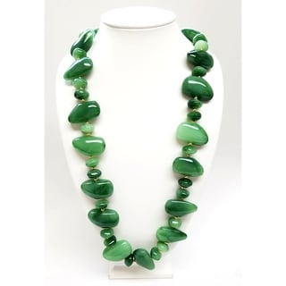 Kenneth Jay Lane Large to Small Resin Jade Pebbles with Gold Spacer Necklace