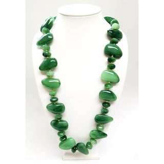 Kenneth Jay Lane Large to Small Resin Jade Pebbles with Gold Spacer Necklace (5 options available)
