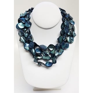 Kenneth Jay Lane 4 Row Blue Shell Necklace