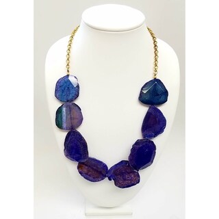 Kenneth Jay Lane Gold Chain with Multi Natural Agate Stone Station Necklace