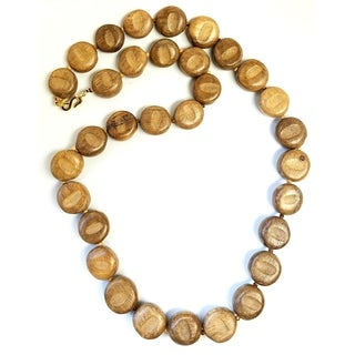 Kenneth Jay Lane Single Strand Wood Necklace - brown