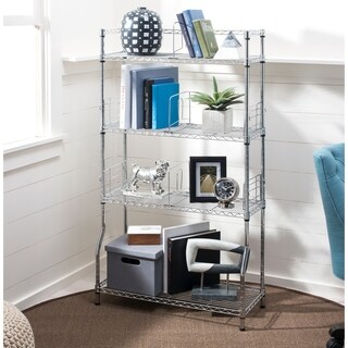 "happimess Wilson 53"" 4-Tier Book Storage Shelf, Chrome"