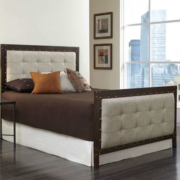 Gotham Complete Bed with Dark Latte Upholstered Metal Panels