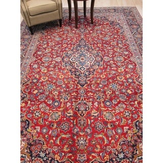 Hand-knotted Wool Blue Traditional Oriental Kashan Rug - 8' 7 x 12' 8