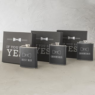 Best Man & Groomsman Leather Wrapped Flask Sets