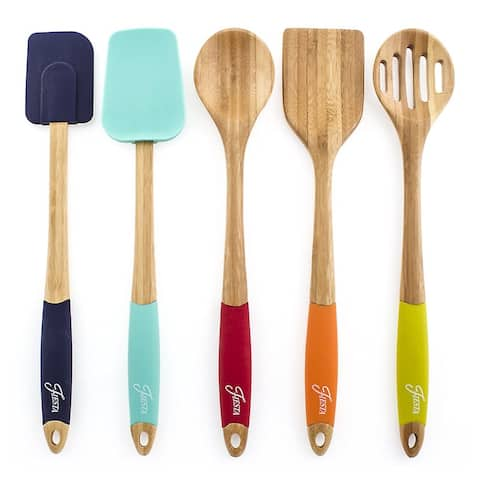 Fiesta 5-Piece Bamboo and Silicone Utensil Set