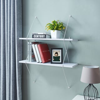 Danya B. Contemporary Two Level Wall Shelf with Wire Brackets – White