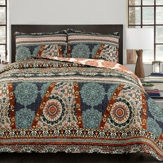 Lush Décor Global Medallion 3 Piece Quilt Set
