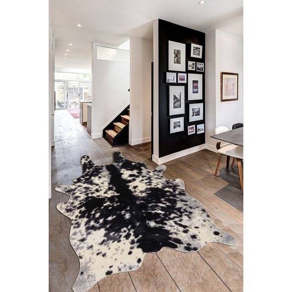 Shop Cow Print Black Off White Silver Faux Hide Suede