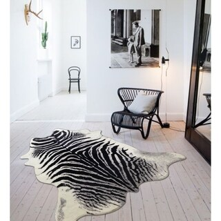 Zebra Print Black Off-White Silver Faux Hide Fur with Suede Backing (5' x 7') - 5' x 7'