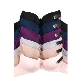 Mamia 6-Pack D-Cup Full Coverage Lace Accent Bras (Assorted Colors)