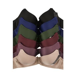 Mamia 6-Pack Full Coverage Solid Bras (Assorted Colors)|https://ak1.ostkcdn.com/images/products/18090931/P24249494.jpg?impolicy=medium