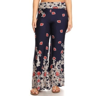 Women's Plus Size Pattern Wide Leg Flare Pants