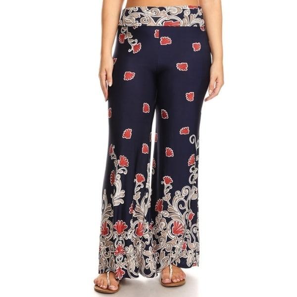 Shop Womens Plus Size Pattern Wide Leg Flare Pants On Sale Free