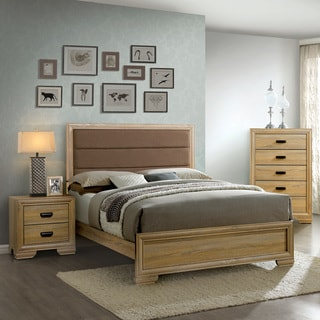 Furniture of America Lamer Contemporary 3-piece Natural Tufted Bedroom Set
