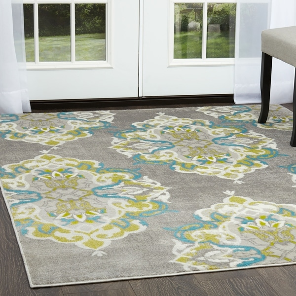 "Home Dynamix Boho Collection Distressed Chic Gray-Multi Area Rug (3'3"" x 5'2"") - multi"