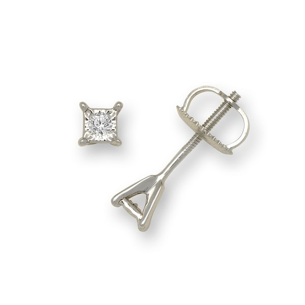 e5eb2a86f Shop 10K White Gold 1/20 Carat TDW Diamond Square Screw-back Earrings (3mm)  - On Sale - Free Shipping Today - Overstock - 18090995
