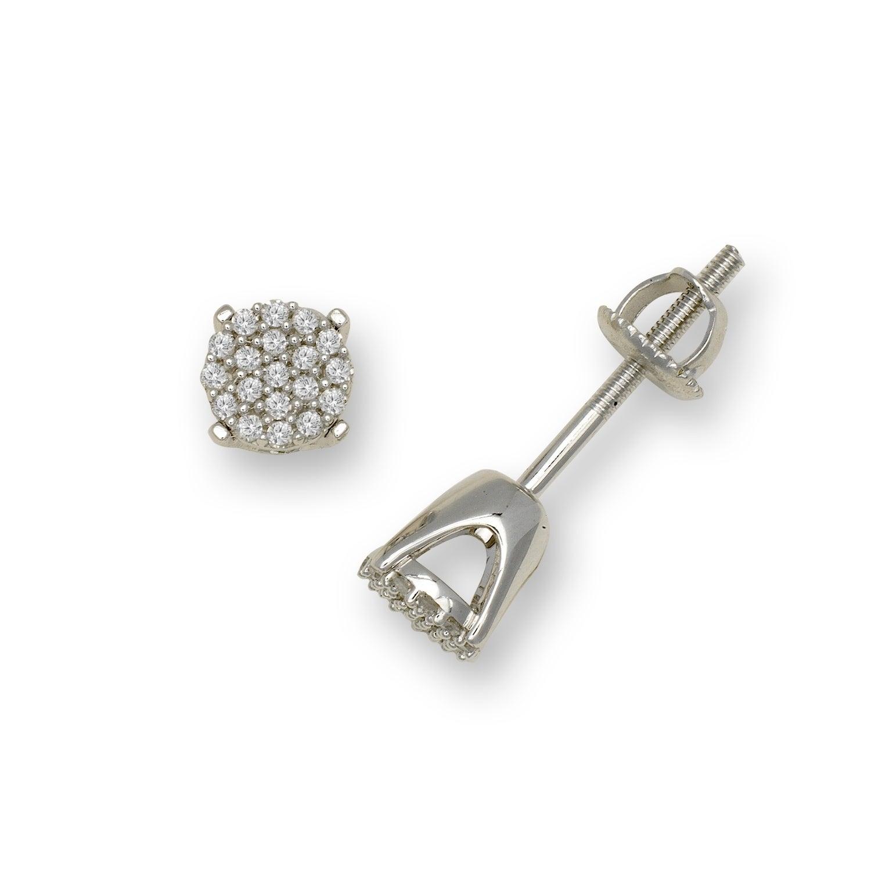 ef2d0eebe 10K Gold 1/8 Carat TDW Round Diamond Stud Screw-back Earrings (6mm) - White