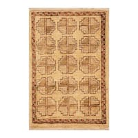 Handmade Herat Oriental Afghan Hand-knotted Vegetable Dye Wool Accent Rug (1'4 x 1'10) - 1'4 x 1'10
