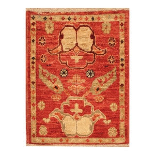 Handmade Herat Oriental Afghan Hand-knotted Vegetable Dye Wool Accent Rug (1'6 x 2')