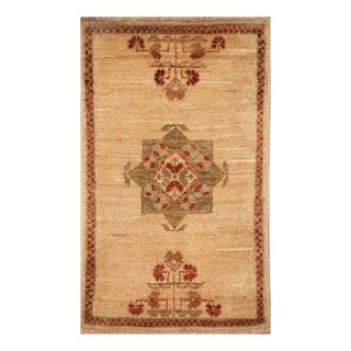 Handmade Herat Oriental Afghan Hand-knotted Vegetable Dye Wool Accent Rug (1'4 x 2'3)