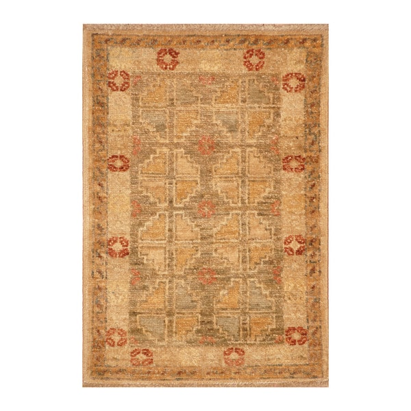 Handmade Herat Oriental Afghan Hand-knotted Vegetable Dye Wool Accent Rug (1'5 x 2'1)