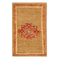 Handmade Herat Oriental Afghan Hand-knotted Vegetable Dye Wool Accent Rug - 1'3 x 2'
