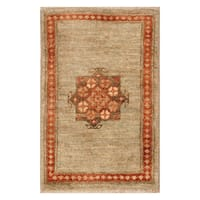 Handmade Herat Oriental Afghan Hand-knotted Vegetable Dye Wool Accent Rug (1'3 x 2')