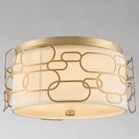 "Fusion Collection 4 Light Matte Gold Finish with Ivory Linen Shade Flush Mount D16"" H7"""