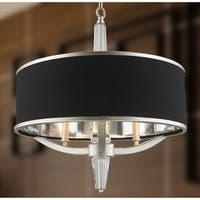"""Glam Collection  3 Light Matte Nickel Finish with Black Drum Shade Chandelier 21"""" D x 22"""" H"""