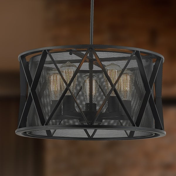 Taiko collection 5 light mesh drum shade pendant light in matte taiko collection 5 light mesh drum shade pendant light in matte black finish d20 h10 aloadofball