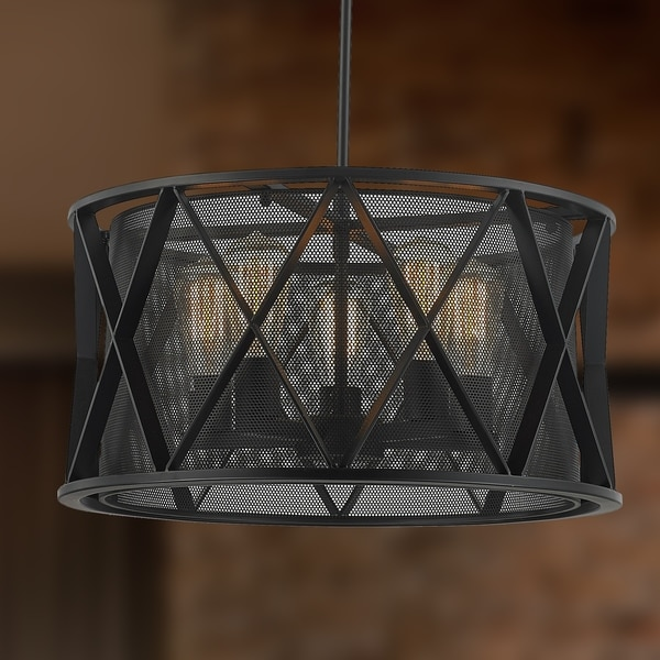 Taiko collection 5 light mesh drum shade pendant light in matte taiko collection 5 light mesh drum shade pendant light in matte black finish d20 h10 aloadofball Choice Image