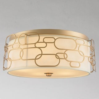 """Fusion Collection 5 Light Matte Gold Finish with Ivory Linen Shade Flush Mount D20"""" H7"""""""