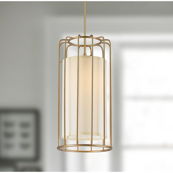 Cage Collection 1 Light Metal Cage Pendant Light in Matte Gold Finish with Ivory Shade D10 & Shop Cage Collection 1 Light Metal Cage Pendant Light in Matte Gold ...