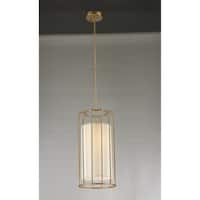 "Cage Collection 1 Light Metal Cage Pendant Light in Matte Gold Finish with Ivory Shade D10"" H20"""