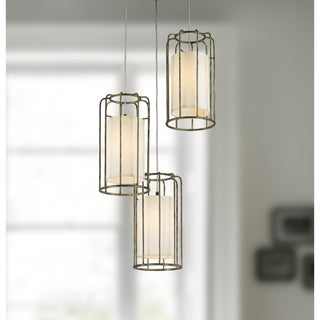 "Cage Collection 3 Light Metal Cage Kitchen Island Cluster Pendant in Antique Bronze Finish with Ivory Shade Finish D20"" H16"""