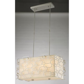 "Fusion Collection 8 Light Matte Nickel Finish with Ivory Linen Shade Rectangular Pendant L24"" W12"" H12"" - Silver"