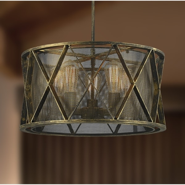 Taiko Collection 5 Light Antique Bronze Finish Pendant Light With Mesh Drum  Shade