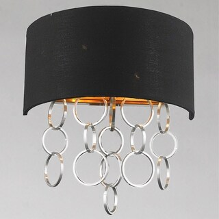 """Continuum Collection 2 Light Matte Gold Finish with Black Linen Shade Wall Scone W12"""" H13"""""""