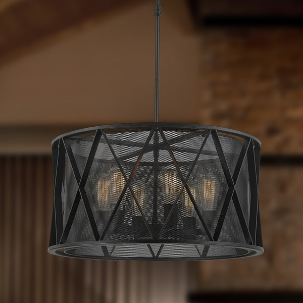 Shop Taiko Collection 6 Light Mesh Drum Shade Pendant Light In Matte