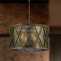 "Taiko Collection 6 Light Mesh Drum Shade Pendant Light in Antique Bronze Finish D24"" H12"""