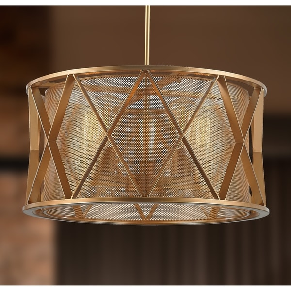 taiko collection 5 light mesh drum shade pendant light in matte gold finish d20 h10