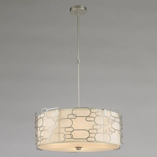 "Fusion Collection 9 Light Matte Nickel Finish with Ivory Linen Shade Round Pendant D24"" H9"""
