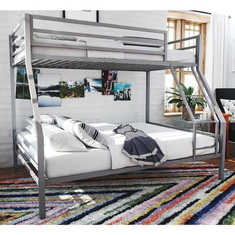 Novogratz Maxwell Grey Twin/Full Metal Bunk Bed
