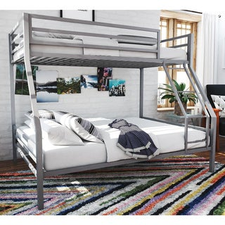 Novogratz Maxwell Grey Twin/Full Metal Bunk Bed