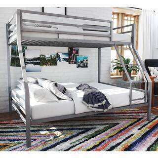 Novogratz Maxwell Kids Grey Metal Twin Full Sized Bunk Bed