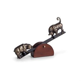 See-Saw Metal Bull & Bear Sculpture with Teak Wood Base.