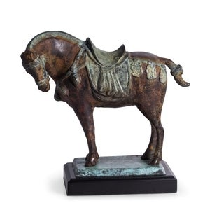 Brass Tang Horse with Flamed Patina Finish on Wood Base